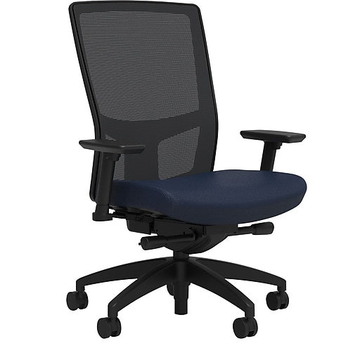 Workplace2.0™ 500 Series Fabric Task Chair, Navy, Integrated Lumbar, 2D Arms, Advanced Synchro Tilt