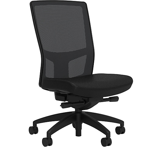 Workplace2.0™ 500 Series Fabric Task Chair, Black, Integrated Lumbar, Armless, Advanced Synchro Tilt