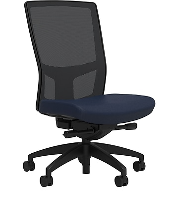 Workplace Series 500 Fabric Task Chair, Navy, Integrated Lumbar, Armless, Advanced Synchro Tilt, Partially Assembled