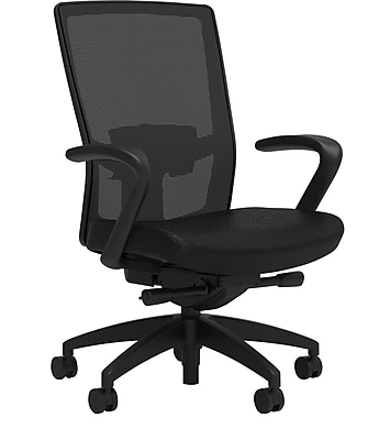 Workplace Series 500 Fabric Task Chair, Black, Adjustable Lumbar, Fixed Arms, Advanced Synchro Tilt, Partially Assembled