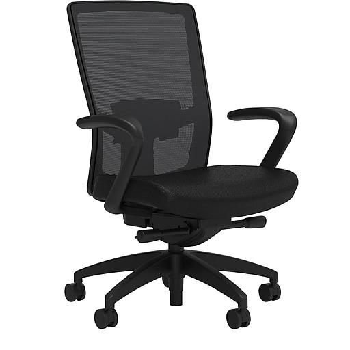 Workplace2.0™ 500 Series Fabric Task Chair, Black, Adjustable Lumbar, Fixed Arms, Advanced Synchro Tilt