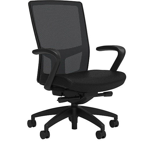 Workplace2.0™ 500 Series Fabric Task Chair, Black, Integrated Lumbar, Fixed Arms, Advanced Synchro Tilt