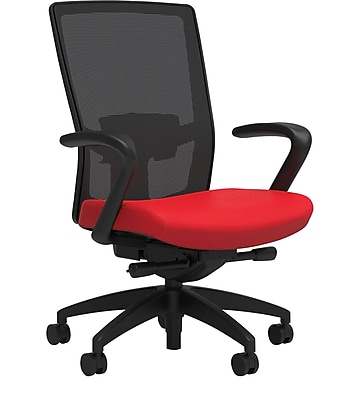 Workplace Series 500 Fabric Task Chair, Ruby Red, Adjustable Lumbar, Fixed Arms, Advanced Synchro Tilt, Partially Assembled