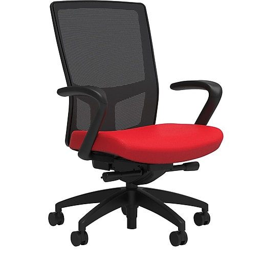 Workplace2.0™ 500 Series Fabric Task Chair, Ruby Red, Integrated Lumbar, Fixed Arms, Advanced Synchro Tilt