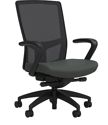 Workplace Series 500 Fabric Task Chair, Iron Ore, Integrated Lumbar, Fixed Arms, Advanced Synchro Tilt, Partially Assembled