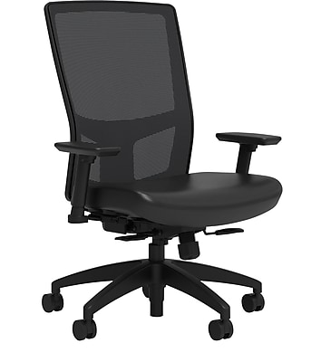 Workplace Series 500 Vinyl Task Chair, Black, Integrated Lumbar, 2D Arms, Synchro Seat Slide
