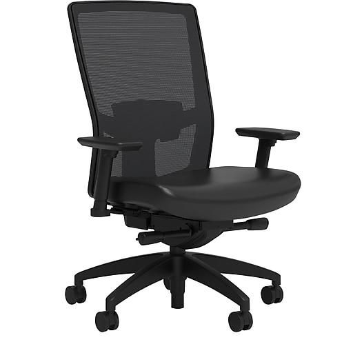 Workplace2.0™ 500 Series Vinyl Task Chair, Black, Adjustable Lumbar, 2D Arms, Advanced Synchro Tilt