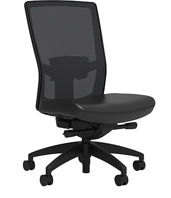 Workplace Series 500 Vinyl Task Chair, Black, Adjustable Lumbar, Armless, Advanced Synchro Tilt, Partially Assembled