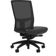 Workplace Series 500 Vinyl Task Chair, Black, Integrated Lumbar, Armless, Advanced Synchro Tilt, Partially Assembled