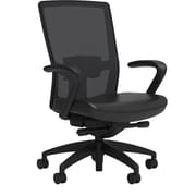 Workplace Series 500 Vinyl Task Chair, Black, Adjustable Lumbar, Fixed Arms, Advanced Synchro Tilt, Partially Assembled