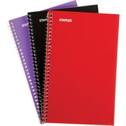 """Staples® 1 Subject Notebook, Assorted Colors, 7-3/4"""" x 5"""", 3/Pack (11670)"""