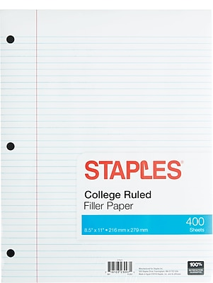 Staples College Ruled Filler Paper, 8 1/2