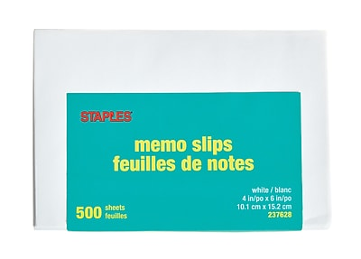 Staples Unpadded Memo Slips, 4