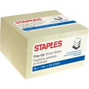 "Staples Stickies® Pop-up Recycled Notes, 3"" x 3"", Yellow, 100 Sheets/Pad, 36 Pads/Pack (52224)"