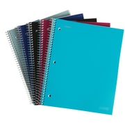 """Staples Accel Durable Poly Cover 3 Subject Notebook, Assorted Colors, 8-1/2"""" x 11"""", Each (20037M)"""