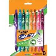 BIC Gelocity Quick Dry Retractable Gel Pens, 0.7 Medium Point, 8/Pack (RGLCGAP81-AST)
