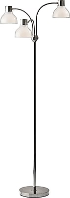 Adesso Incandescent Presley 3 Arm Floor Lamp Nickel (3566-09)