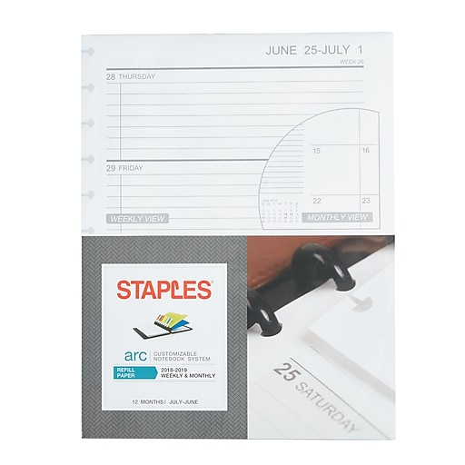 staples arc system 2018 2019 academic year weekly planner refill