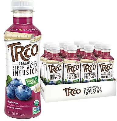 TREO® Organic Birch Water Infusion, Blueberry, 16 Oz., 12/CT