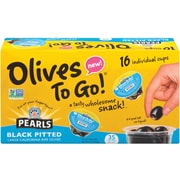 Pearl's Large Black Pitted Olives To-Go Cup, 16 Count (40223)