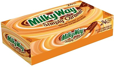 MILKY WAY Simply Caramel Milk Chocolate Singles Size Candy Bars 1.91-Ounce Bar 24-Count (243038)