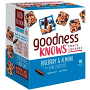 goodnessKNOWS Blueberry, Almond & Dark Chocolate Gluten Free Snack Square Bars 18-Count (367554)