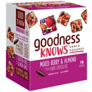goodnessKNOWS Mixed Berries, Almond & Dark Chocolate Gluten Free Snack Square Bars 18-Count (365932)