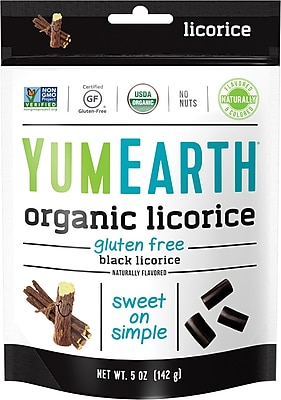 YumEarth Organic Gluten Free Black Licorice, 5 oz., 4 Pack (1900)