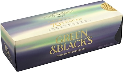 Green & Black's Pure Dark Chocolate 70% Cacao, 24 Piece, 8.46 oz. (0497)