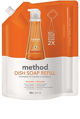 Method Dish Soap Refill, Clementine, 36 Ounce (01165)