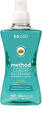 Method 4x Concentrated Laundry Detergent, Beach Sage, 53.5 Ounce, 66 Loads