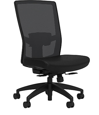 Workplace Series 500 Fabric Task Chair, Black, Adjustable Lumbar, Synchro Seat Slide, Armless