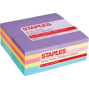 "Staples Stickies® Notes, 3"" x 3"", Bold Colors, 100 Sheets/Pad, 24 Pads/Pack (52229)"