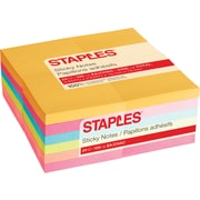 "Staples Stickies® Notes, 3"" x 3"", Bright Colors, 100 Sheets/Pad, 24 Pads/Pack (52226)"