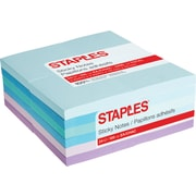 "Staples Stickies® Notes, 3"" x 3"", Watercolor, 100 Sheets/Pad, 24 Pads/Pack (52227)"