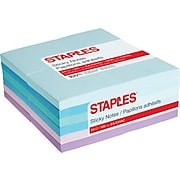 """Staples Stickies® Notes, 3"""" x 3"""", Watercolor, 100 Sheets/Pad, 24 Pads/Pack (52227)"""