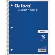 "Oxford® 1-Subject Notebook, 8"" x 10-1/2"", Wide Rule, 70 Sheets"