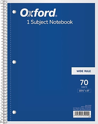 Oxford® 1-Subject Notebook, 8