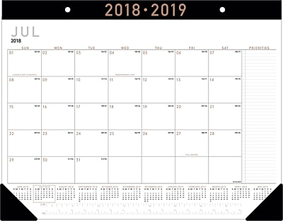 2018-2019 AT-A-GLANCE® Academic Contemporary Monthly Desk Pad, 12 Months, 22