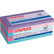 "Staples Stickies® Pop-up Notes, 3"" x 3"", Bold Colors, 100 Sheets/Pad, 12 Pads/Pack (52225)"