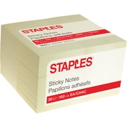"Staples Stickies® Recycled Notes, 3"" x 3"", Yellow, 100 Sheets/Pad, 36 Pads/Pack (52222)"