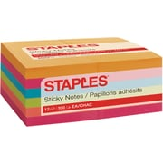 "Staples Stickies® Notes, 3"" x 5"", Bright Colors, 100 Sheets/Pad, 12 Pads/Pack (52230)"