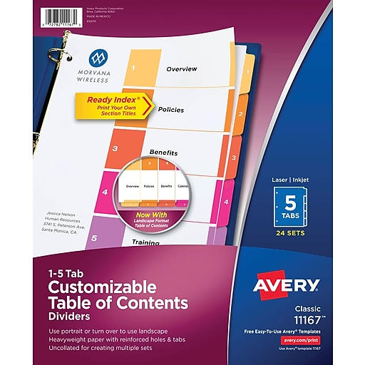 Avery 5 Tab Ready Index Multicolor Table Of Contents Dividers 24