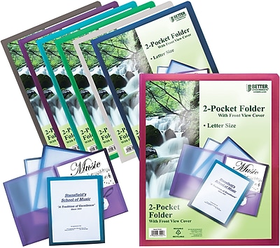 Better Office Products Poly Portfolio with Clear View Front Cover; 24/Pack
