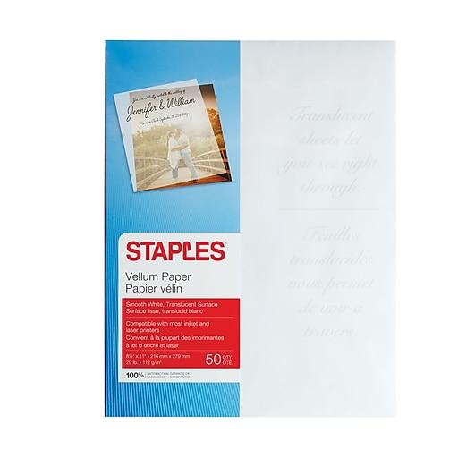 Staples inkjetlaser white vellum paper 8 12 x 11 50pack staples httpsstaples 3ps7is malvernweather Choice Image