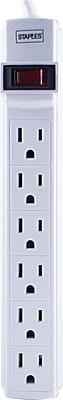 Staples 6ft. 6-Outlet Power Strip, White (17651)