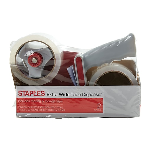 "Staples® Extra Wide Packing Tape with Dispenser, 2.83"" x 54.6 Yds, Clear, 2/Rolls (ST-XW22-PG)"
