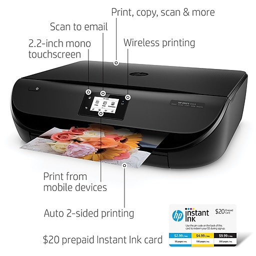 HP ENVY Wireless AllinOne Printer HP Instant Ink Card - Can you print from email at staples