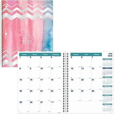 2018-2019 Brownline® Academic Monthly Planner, Rose Watercolor Design, 13 Months, 11