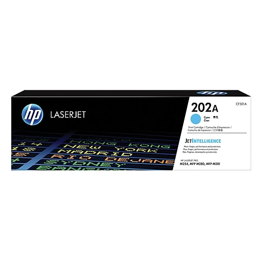 HP 202A Original Toner Cartridge, Cyan, Laser, Standard Yield, 1300 Pages, 1 Pack (CF501A)